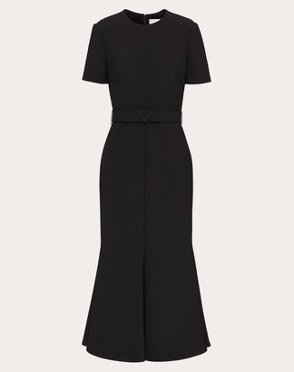 Valentino Technical Double Wool Dress Women Black Polyester 45%, Virgin Wool 36%, Elastane 3% 40