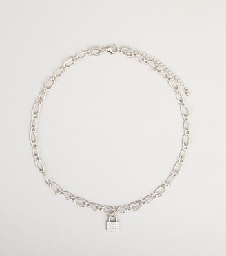 New Look Diamante Padlock Chain Necklace