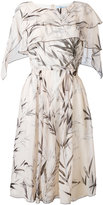 Blumarine leaf print midi dress - women - Silk - 46
