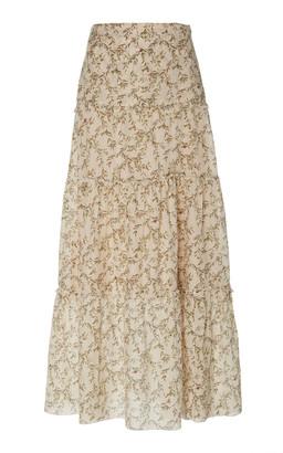 SIR the Label Annalie Printed Cotton-Blend Maxi Skirt