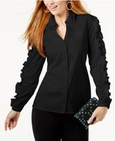 INC International Concepts Anna Sui Loves Corset-Back Shirt, Created for Macy's