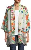 Johnny Was Spring Border Floral-Print Kimono Jacket, Plus Size