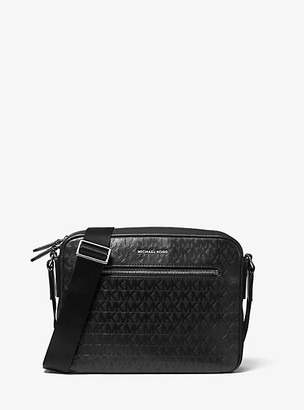 Michael Kors Hudson Logo Debossed Leather Camera Bag - Black