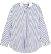 Brunello Cucinelli Embellished Striped Stretch-cotton Poplin Shirt - Blue