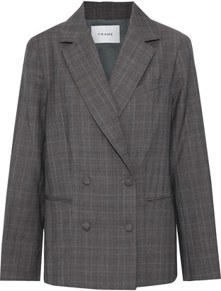 Frame Double-breasted Checked Wool Blazer