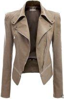 URqueen Women's Slim Motor Faux Leather Jacket Coat XL