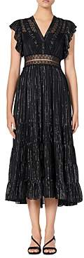 Sandro Dona Metallic-Stripe Midi Dress