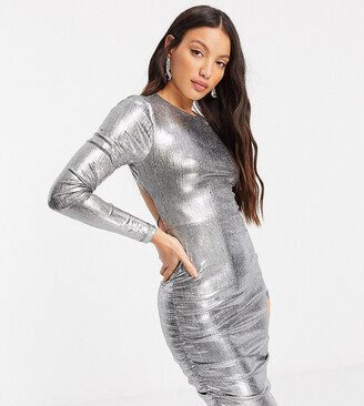 4th & Reckless Tall jersey cross open back mini dress in silver metallic