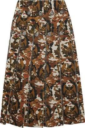 Bottega Veneta Eyelet-embellished Pleated Printed Scuba Skirt