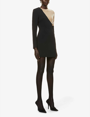 David Koma Sequin-embellished crepe mini dress