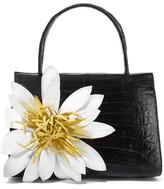 Nancy Gonzalez Floral-appliqued Glossed-crocodile Tote - Black