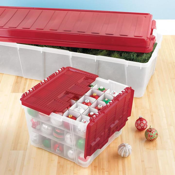 Container Store Wing-Lid Ornament Storage Box