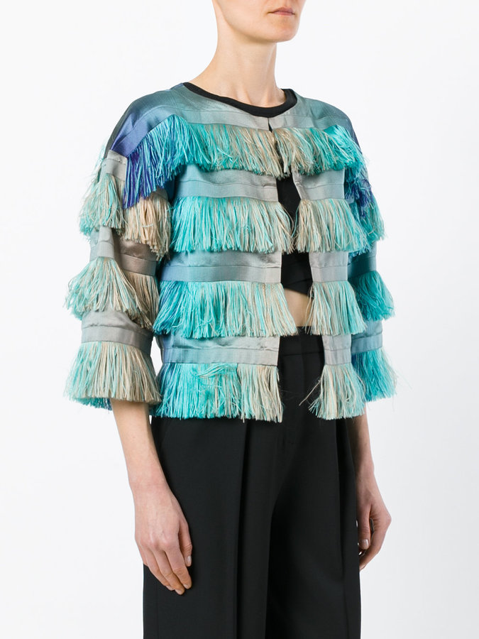 Alberta Ferretti degradé fringed cropped jacket
