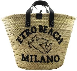 Etro Logo Raffia Tote Beach