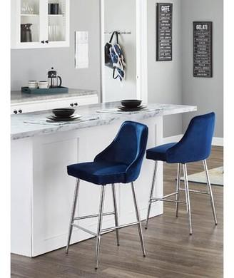 Mercer41 Elim 25.5 Contemporary Bar Stool Upholstery/Frame: Silver Velvet/Chrome