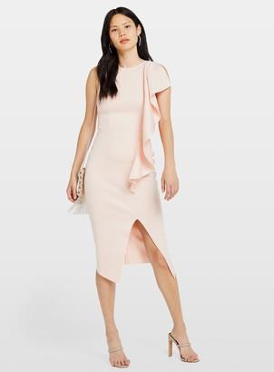Miss Selfridge Pink Scuba Frill Midi Dress