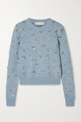 Michael Kors Collection Bead-embellished Cashmere Sweater - Sky blue