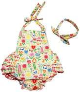 Happy Cherry Baby Girl Swim Photography Prop Jumpsuit Ruffled Romper Bloomer PP Pants 0-12M