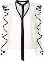 Alexis frill trim blouse with neck tie detail