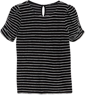 Gibson Novelty Striped Ruched Sleeve T-Shirt