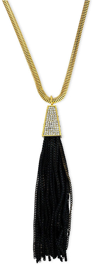 Vince Camuto Necklace, Gold-Tone Glass Pave Black Chain Tassel Pendant