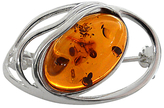 Goldmajor Amber and Silver Brooch, Cognac