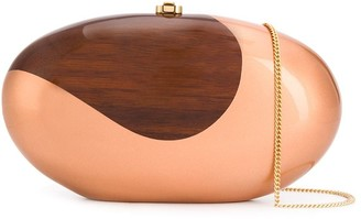 Rocio Oscar two-tone clutch bag