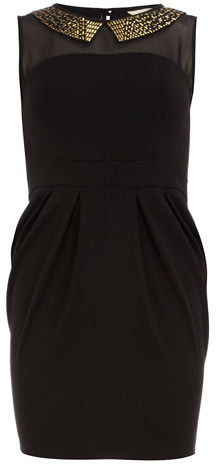 Dorothy Perkins Petite stud collar black dress
