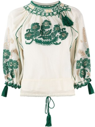 RED Valentino Tassel-Trim Embroidered Blouse