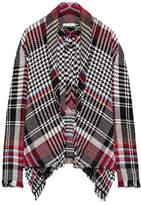 Oscar de la Renta Fringed Checked Cotton-blend Tweed Jacket - Black