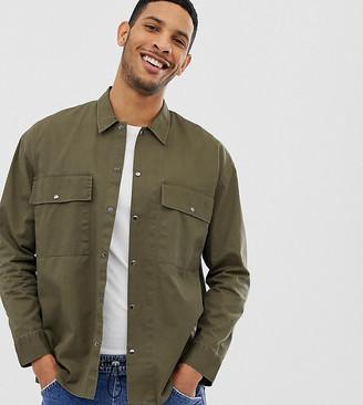 Noak heavy overshirt in khaki with two pockets-Green