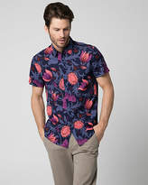 Le Château Floral Print Cotton Slim Fit Shirt