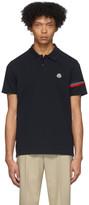 Moncler Black Striped Sleeve Polo