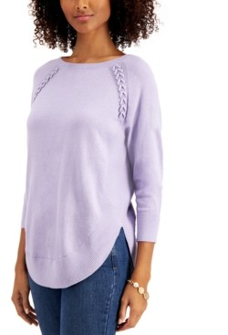 Style&Co. Style & Co Braided Lace-Up Tunic Sweater, Created for Macy's