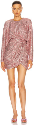 Redemption Bat Sleeve Draped Mini Dress in Antique Pink | FWRD