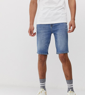 Asos Design DESIGN Tall denim shorts in skinny mid wash blue