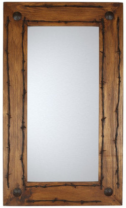 My Amigos Imports Old Ranch Rustic Mirror, Natural