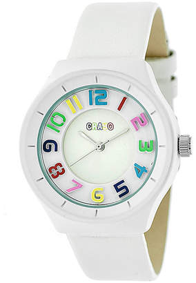 Crayo Womens White Leather Strap Watch-Cracr3501