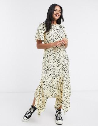 Nobody's Child midi dress with frill hem in scattered spot print