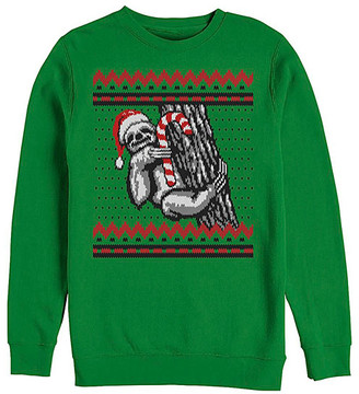 Fifth Sun Men's Sweatshirts and Hoodies KELLY - Kelly Green Santa Sloth Crewneck Sweater - Men