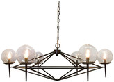 Worlds Away Powder Coated Chandelier With Glass Globes, Black
