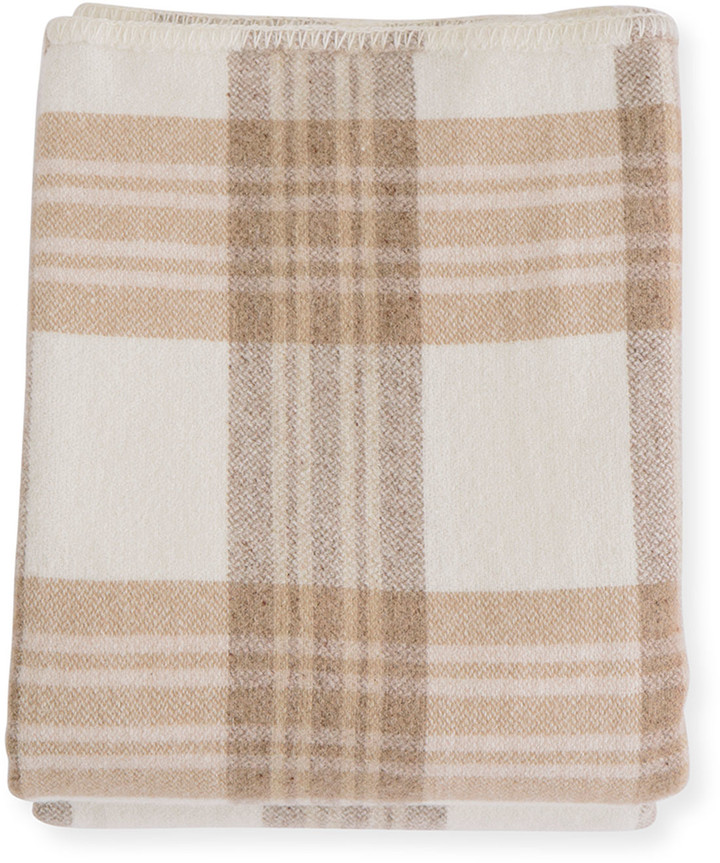 Evangeline Linens Plaid Merino Wool King Blanket, Harvest Plaid
