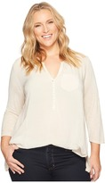 Lucky Brand Plus Size Woven Mixed Top Women's Clothing