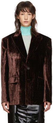 Maison Margiela Brown Crushed Velvet Blazer