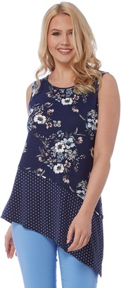 Roman Originals Women Spot Floral Asymmetric Top - Ladies Dipped Hem Sleeveless Jersey Casual Going Out Polka Dot Tops - Blue - Navy - Size 10