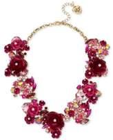 Betsey Johnson Gold-Tone Multi-Stone Pink Flower Statement Necklace