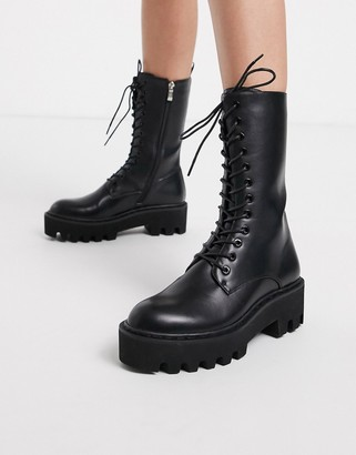 Lamoda Unforgiven High military calf boots in black