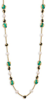 8MM Pearl Multi Stone and18K Yellow Gold Necklace