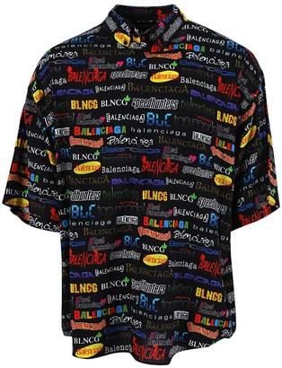 Balenciaga Multicolored Logo Short-sleeve Shirt