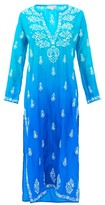 Juliet Dunn Ombre Sequin-embroidered Silk Kaftan - Womens - Blue Multi